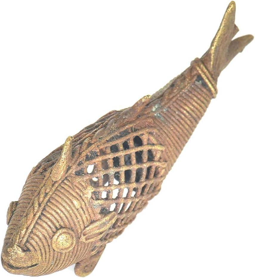 Indianshelf Handmade Golden Brass Dhokra Art Fish with Rustic Look Statue Home Décor Statement Pieces