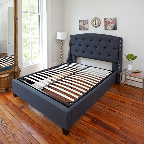 Classic Brands Europa Wood Slat and Metal Platform Bed Frame | Mattress Foundation, Queen