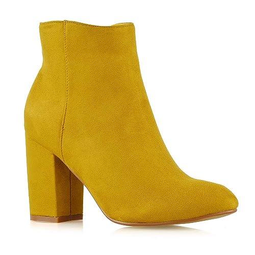 Essex GLAMKD-1 - ((Botas de tacón Grueso, con zíper)) Mujer, Amarillo (Mustard Faux Suede), 7 M EU: Amazon.es: Zapatos y complementos