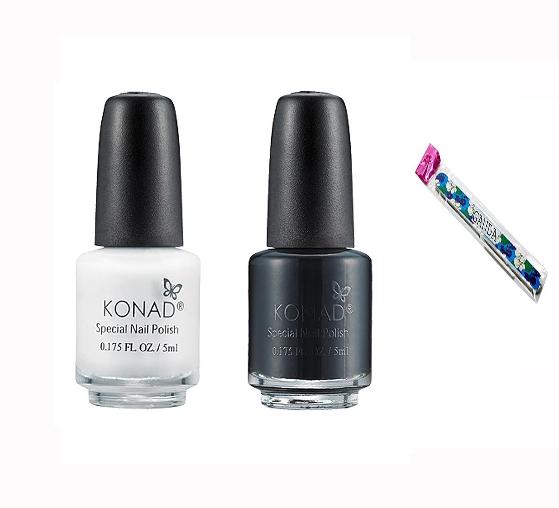 Amazon.com: Konad Stamping Nail Art DIY Special Nail Polish Black 5ml with One Ganda Nail Buffer: Beauty
