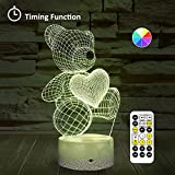 [Wall Adapter Included] Remote & Touch Control LED Bear Night Light with Timer Dimmable Nightstand Table Desk Lamp with USB Charging Port 7 Color Changing Nightlights for Girls Birthday Gifts Decor