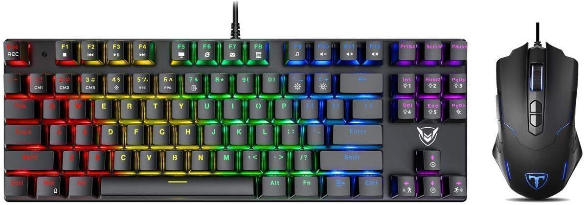 Pictek Gaming Keyboard and Mouse, [7200 DPI] [Programmable] [Breathing Light] [7 Buttons] Ergonomic Mice, [Compact 87 Key] [RGB Backlight] [100% Anti-Ghosting] [27 LED Lighting Modes] Keyboard, Bundle