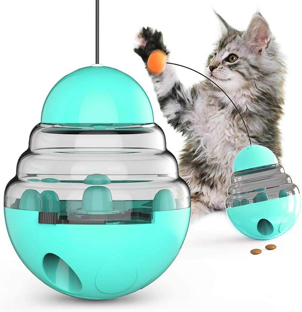 CODACE Cat Toys Interactive Food Dispenser, Cat Feeder IQ Treat Ball - Adjustable Cat Puzzle Feeder, Funny Pet Leaking Food Training Ball, Tumbler Toy Relieve Anxiety Reduce Boredom
