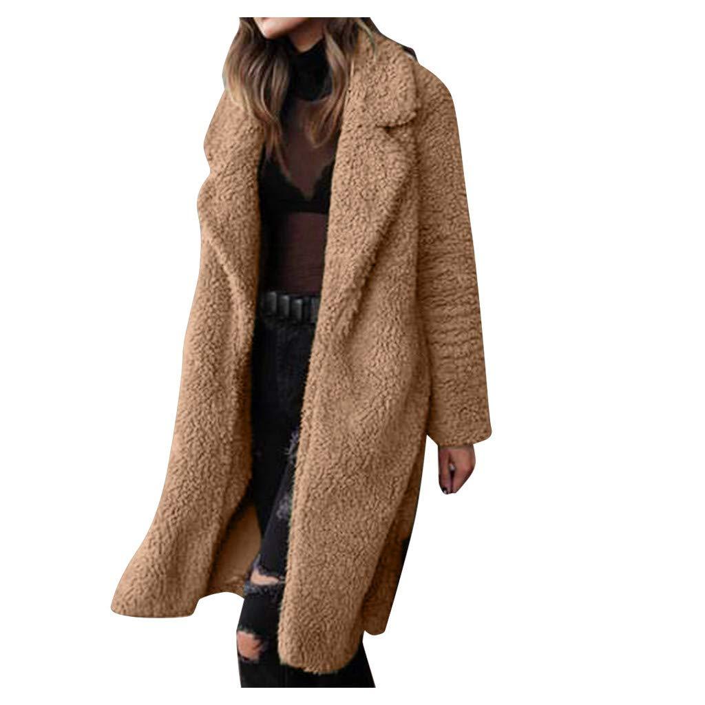 Cappotto Lungo Donna Cachemire Parka Invernale Teddy Giubbino Trench Manica Lunga Risvolto Elegante Donna Giacca