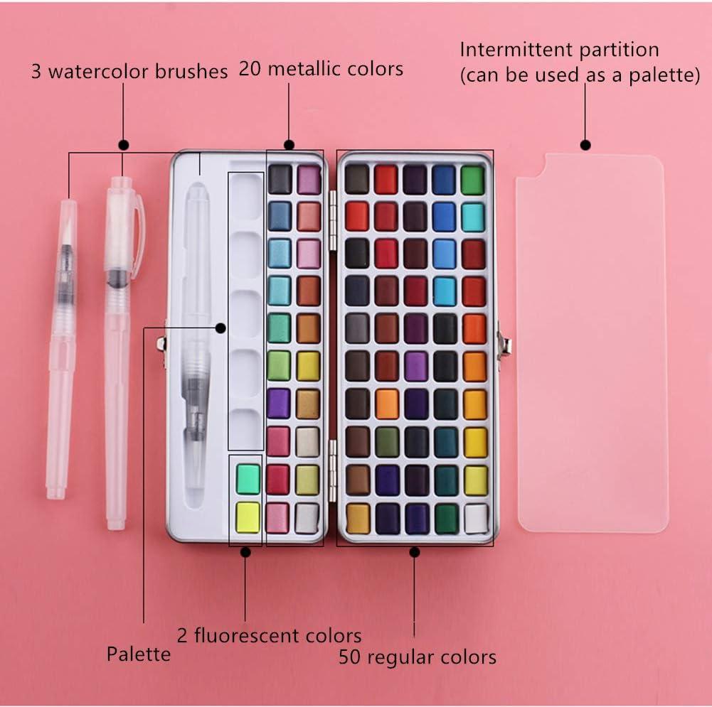 Juego de pintura de acuarela de 72 colores sólidos + 3 pinceles,color convencional, color fluorescente metálico, juego de pintura portátil comprimido, ...