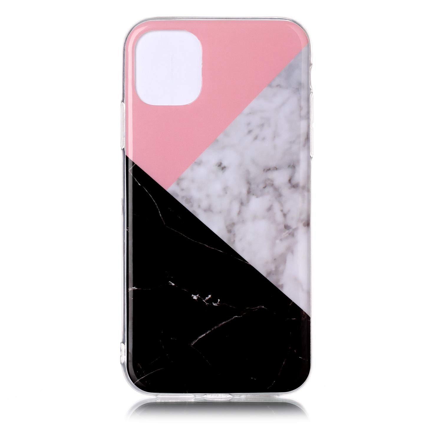 Rose Gold Black Amocase Marble Case with 2 in 1 Stylus for iPhone 11 6.1 2019,Glossy Soft Rubber Silicone TPU Shockproof Anti-Scratch Flexible Bumper Case