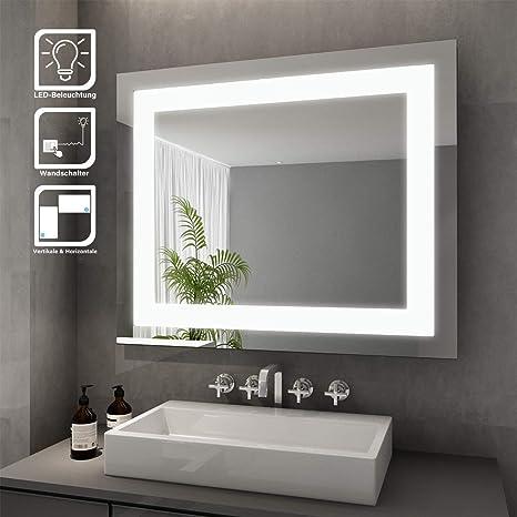 Badspiegel mit LED Touch Badezimmerspiegel Beleuchtung Wandspiegel Lichtspiegel