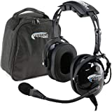 Rugged Air RA200 General Aviation Pilot Headset Features Noise Reduction, GA Dual Plugs, MP3 Music Input and Includes Headset