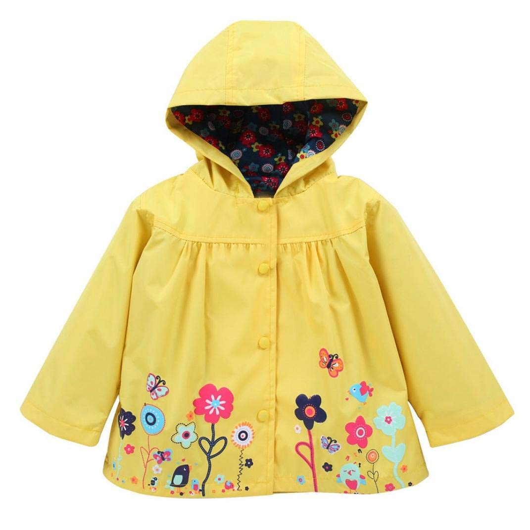 Little Girl Hooded Coat,Jchen(TM) Infant Toddler Baby Kid Girl Waterproof Hooded Coat Jacket Outwear Raincoat for 1-5 Y (Age: 12-18 Months, Yellow)