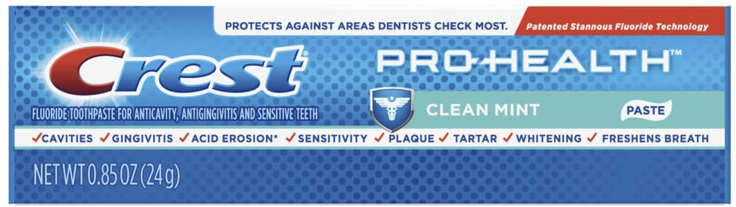 Crest Pro-Health Toothpaste, Clean Mint, Travel Size, TSA Approved, 0.85 Ounces / 24 Gram (Pack of 12)