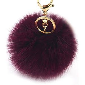Dikoaina Faux Fox Fur Pom Pom Keychain Bag Purse Charm Gold Ring Fluffy Fur  Ball 6d590e34b697a