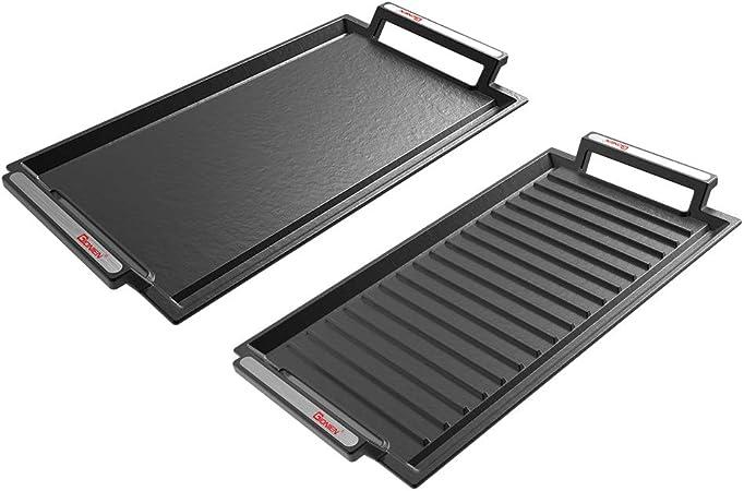 anti-adh/ésif et anti-rouille pour barbecue Gionien Lot de 2 plaques de cuisson en fonte pour plaques /électriques /à induction avec rainures surfaces planes et stri/ées