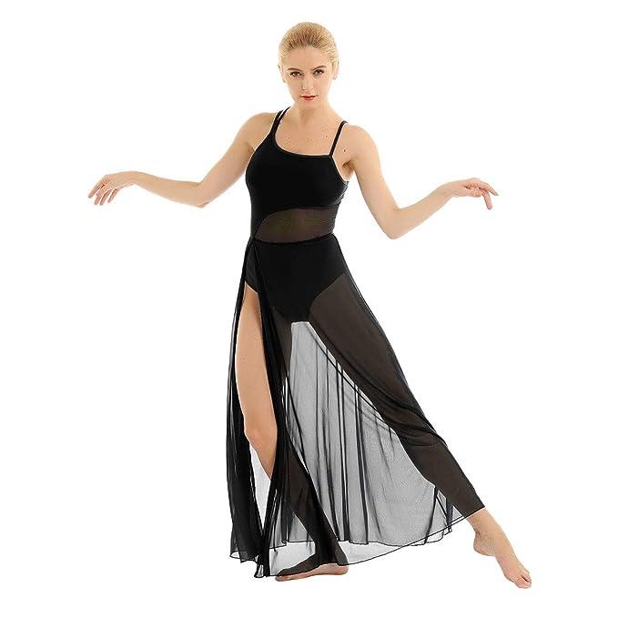 Women Adults Modern Lyrical Dance Costume Mesh Maxi Dance Dress Ballet Leotard