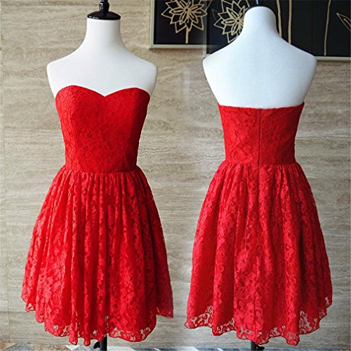Party Cheap Prom Sweetheart Dresses Lace DreHouse Women's Gowns Homecoming Red Short x8OnqxpwU