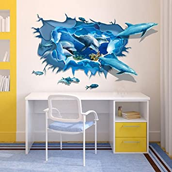 Beautiful KpopBaby Creative DIY Removable Wall Stickers 3D Dolphin Sea Ocean Art  Decal Mural Kids Bedroom Decor