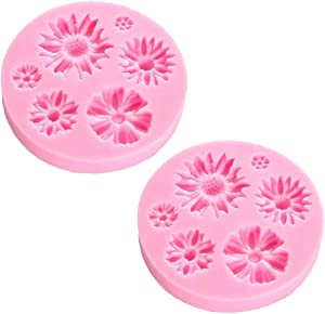 MOTZU 2 Pack Daisy Silicone Chocolate Mold Candy Mold Jelly Ice Cube Tray Muffin Sugar Decorating Tools