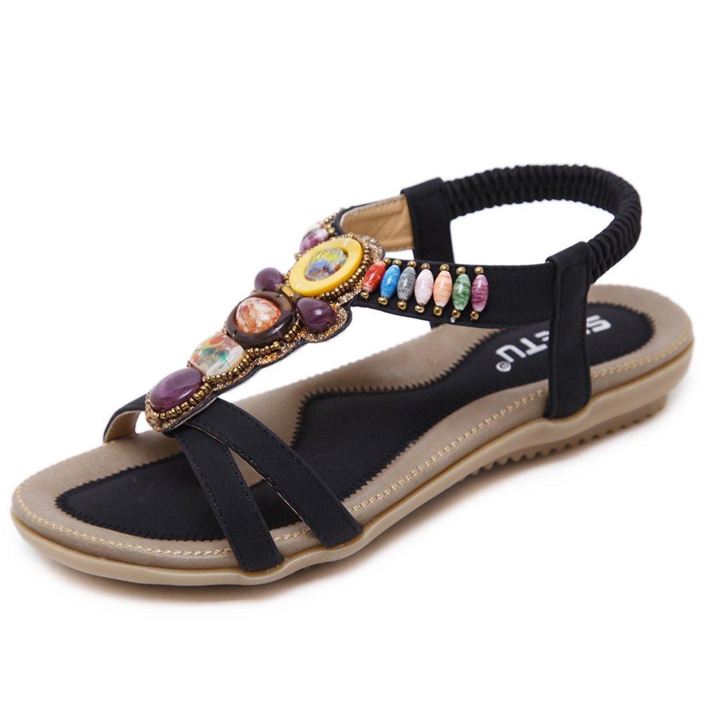 Woky Damen Sommer Sandalen mit Strass Perlen Bohemia Strand Schuhe Freizeit Flach Sandalette Grouml;szlig;e 34-44  39 EU|Schwarz