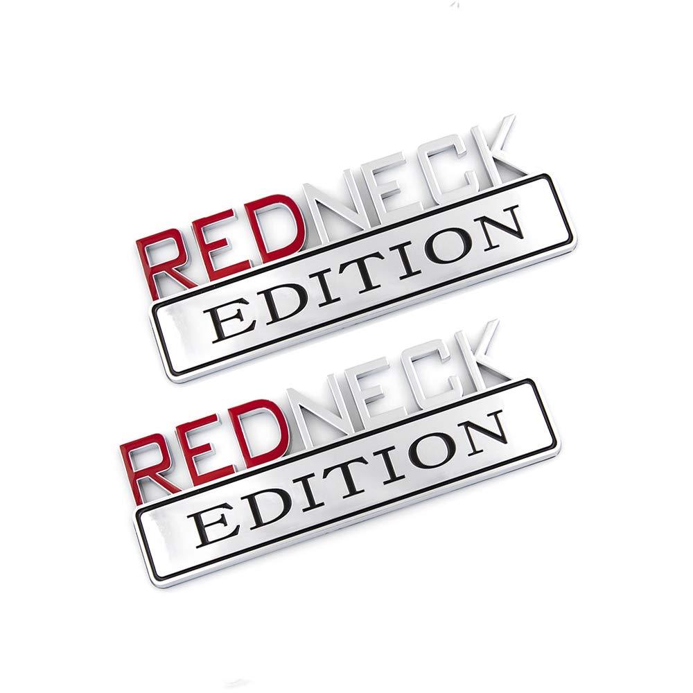 Red-silver 2X Redneck Edition Emblem Rear Side Sicker Fit For F-150 F250 F350 Silverado RAM 1500