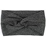 NEOVIVA Wide Stretchy Headband Workout and Travel Headwrap Stylish Hair Accessories for Women, Charm Silver Black