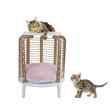 PAWZ Road Muebles para Gatos Redondos de Yute, Cuerda de rascado, Juguete Interactivo para