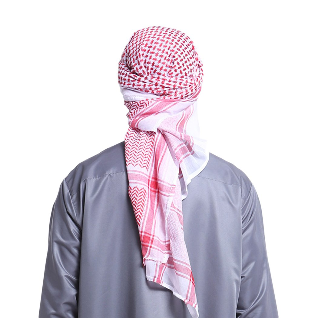 Raylans Men's Arab Shemagh Head Scarf Islamic Print Scarf Turban Arabic Head Cover Red