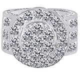HIP HOP Round Cut Cubic Zirconia Men's Wedding Band Ring 14K White Gold Over Sterling Silver (10.71 Cttw) Ring Size - 13.5