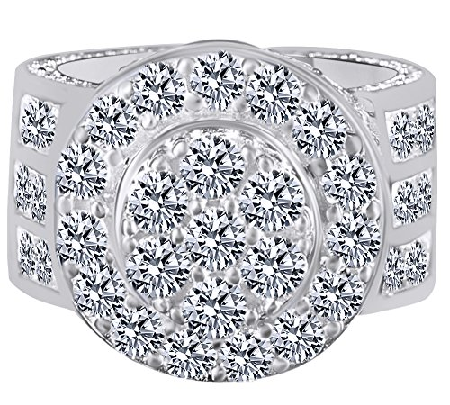 HIP HOP Round Cut Cubic Zirconia Men's Wedding Band Ring 14K White Gold Over Sterling Silver (10.71 Cttw) Ring Size - 6.5 by AFFY