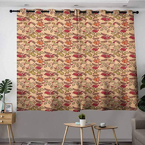 VIVIDX Thermal Insulating Blackout Curtains,Nature Rowan Maple Birch Oak Branches Deciduous Forest Autumn Leaf Ornament with Words,Grommet Curtains for Bedroom,W72x45L Multicolor ()