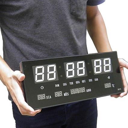 0e9c57c3297 Relogio De Parede Led Branco Digital Alarme Data Termo (rel-57)   Amazon.com.br  Cozinha
