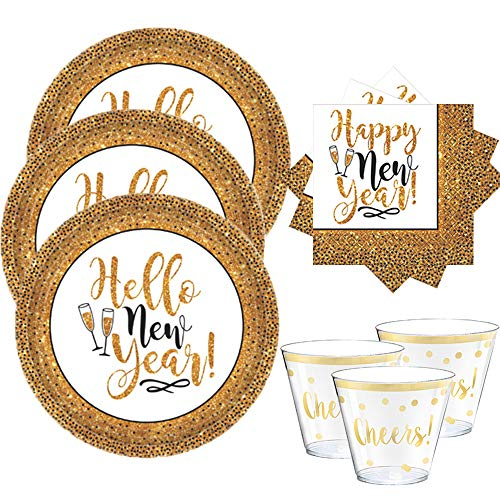 Happy New Years Black and Gold Party Supplies Disposable Paper Dinnerware Party Pack For Up To 25 Guests With New Years Eve Dinner Plates, NYE Napkins, and Gold Cheers Tumbler Cups!