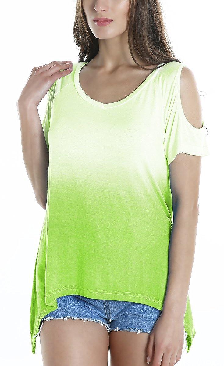 d9e469bb2 Urban GoCo Camisas Fuera del Hombro Blusa Color Degradado Camiseta Moda  para Mujer  Amazon.es  Ropa y accesorios