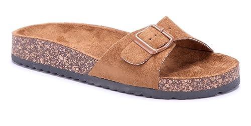 d7bce40271b083 Schuhtempel24 Damen Schuhe Pantoletten Sandalen Sandaletten Camel flach  Schnalle