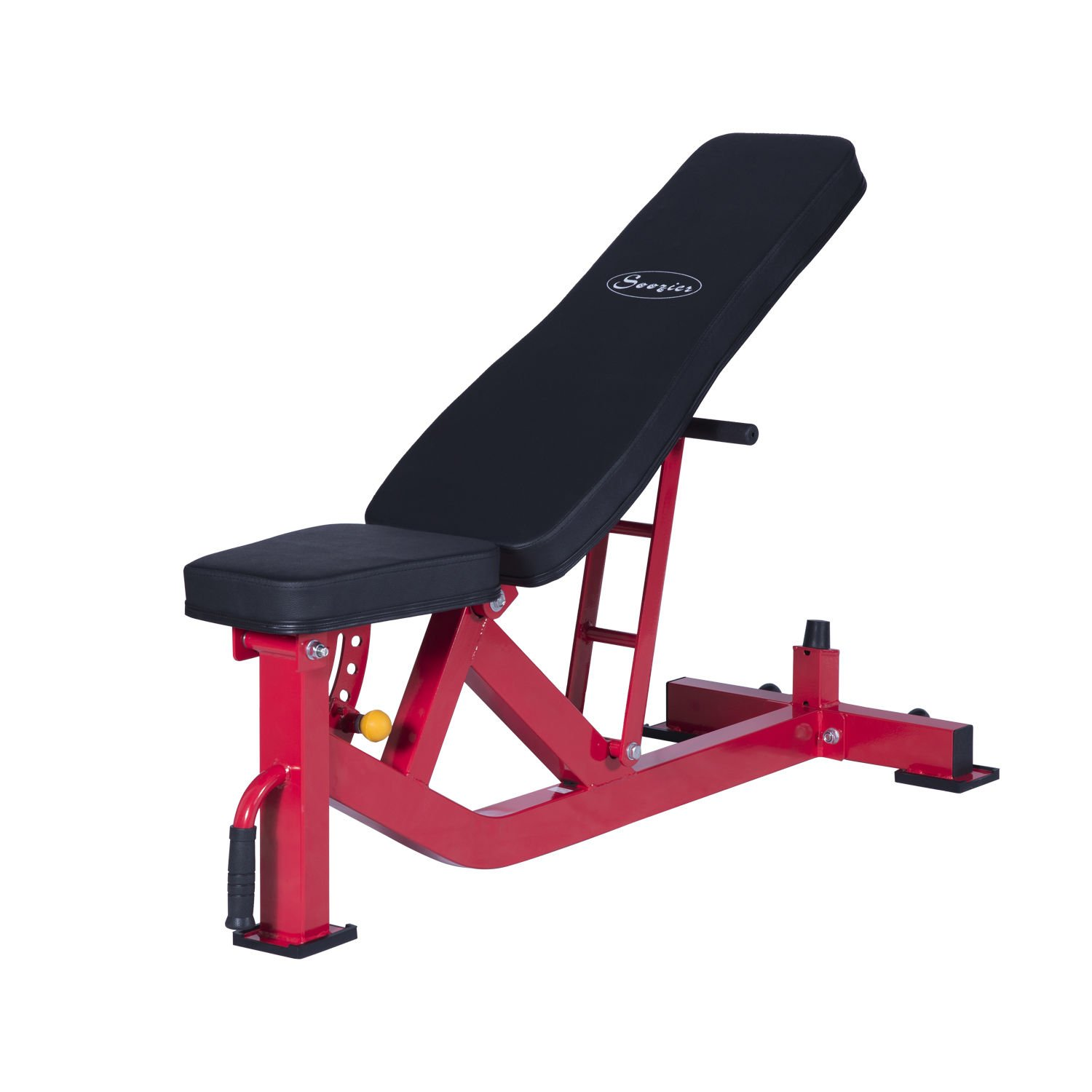 GHP Black/Red Adjustable Ten-Position 53.15''L × 22.05''W × 18.70''H Weight Bench