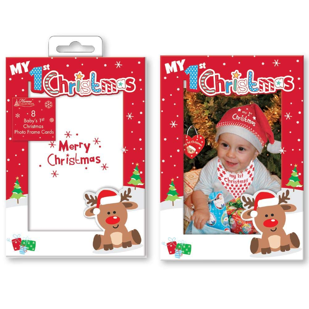 Pack of 8 Baby\'s 1st Christmas Photo Frame Cards: Amazon.co.uk ...