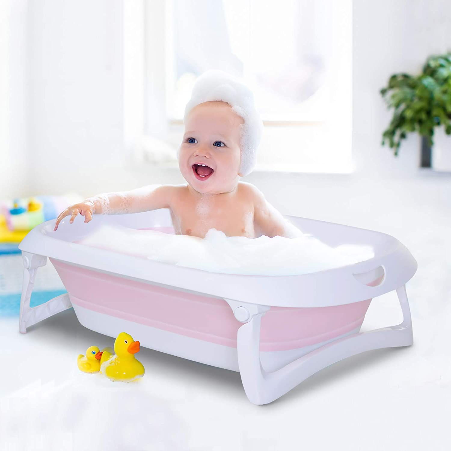 HOMCOM Folding Baby Bath Tub Toddler Kids Infant Safety Shower Slide Protection Comfortable Portable Pink