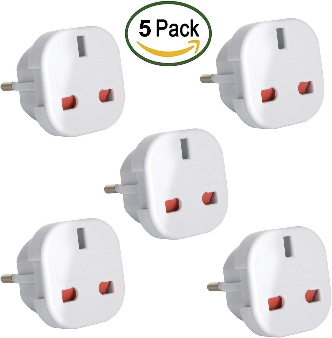 Travel Adapter UK to EU Euro European adapter White Plug 2 Pin Pack of 5