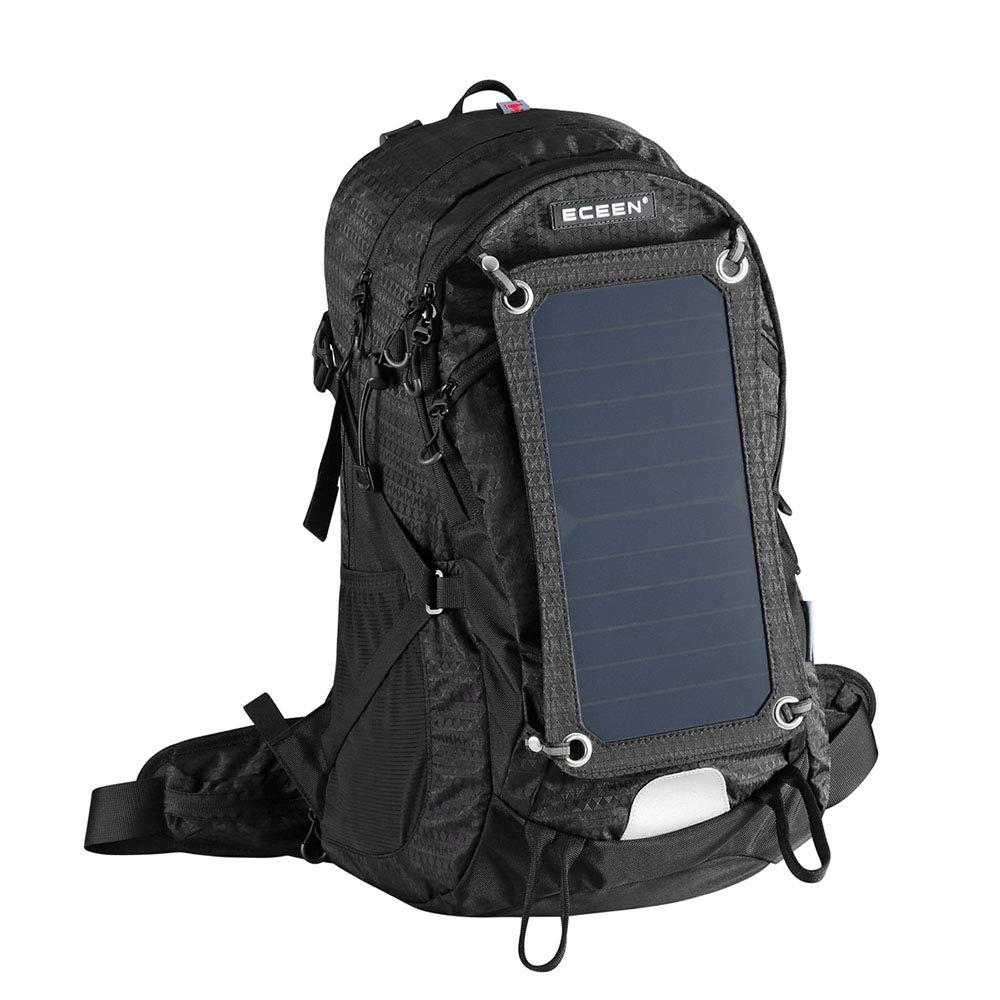 ハイキングソーラータクティカルバックパックアウトドア登山バッグソーラーパネルキャンプ旅行ナップザック B07MQ9QZ18 Black