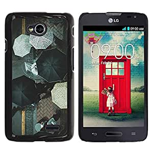 FECELL CITY // Duro Aluminio Pegatina PC Caso decorativo Funda Carcasa de Protección para LG Optimus L70 / LS620 / D325 / MS323 // White Black City Street Rain