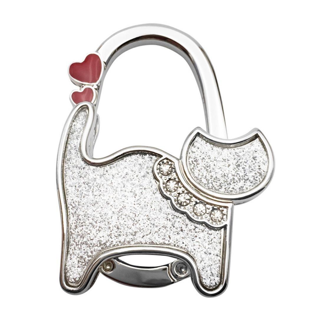 Hot Sale!DEESEE(TM)Mini Cute Cat Folding Hanger Holder Table Hook For Purse Handbag Utility (J)