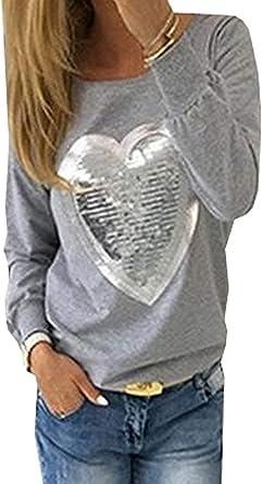 Mujer Camisas con Lentejuelas Primavera Camisetas Patrón De Corazón Otoño Elegante Basic Hipster Anchas Moda Shirts Manga Larga Cuello Redondo Slim Fit Moda Joven Blusas Tops Ropa: Amazon.es: Ropa y accesorios