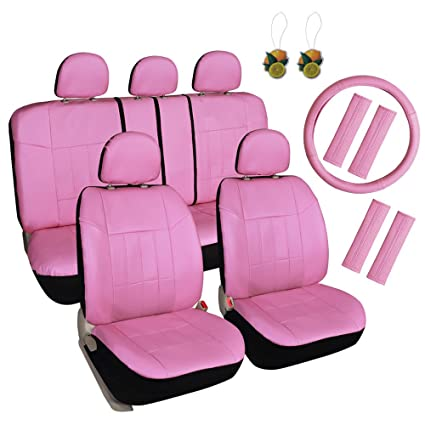 Leader Accessories Pink Car Seat Covers For Girls 17pcs Full Set