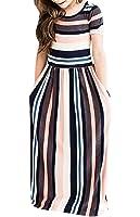 Syktkmx Cute Baby Girls Hit Color Long Dress Children Casual Beachwear Dress