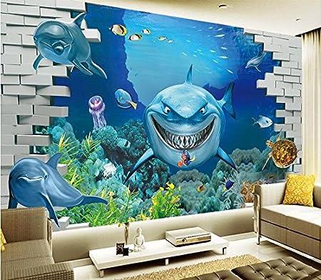 Chan Mei 3d Wallpaper Custom Mural 3d Room Wallpaper Undersea Shark