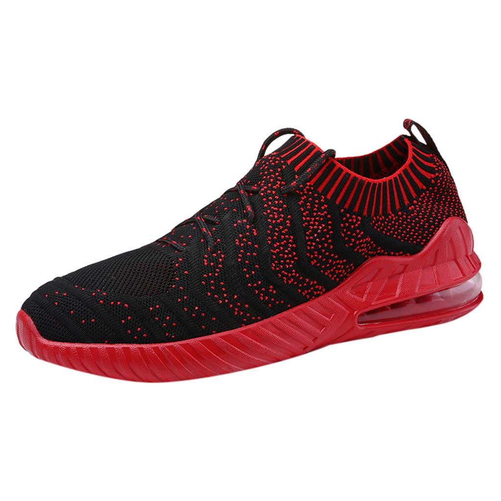 Mysky Men Popular Breathable Woven Mesh Air Cushion Running Shoes Male Casual Outdoor Wild Comfy Sock Sneakers Red