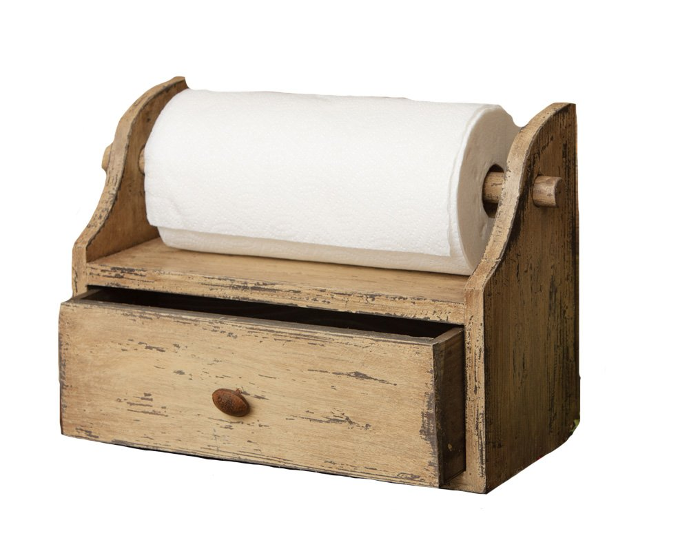 Your Hearts Delight Paper Towel Holder with Drawer, 15 by 11-1/2 by 7-Inch, Distressed Tan 8W1314