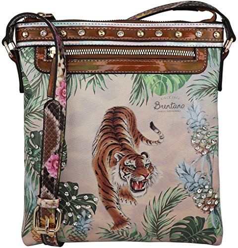 B BRENTANO Cute Animal Graphic Crossbody Bag Purse with Rhinestones (Tropical Tiger)