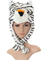 Plush Faux Fur Animal Critter Hat Cap - Soft Warm Winter Headwear - Short with Ear Poms and Flaps & Long with Scarf and Mittens available (White Tiger - Short)