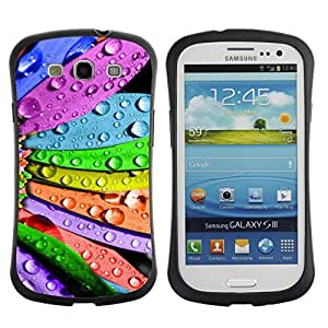 Hybrid Anti-Shock Bumper Case for Samsung Galaxy S3 / Cool Colorful Flower Art