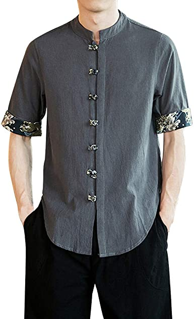 Mens Linen T-shirt Short Half Sleeve Embroidery Chinese Style Casual Summer Boys