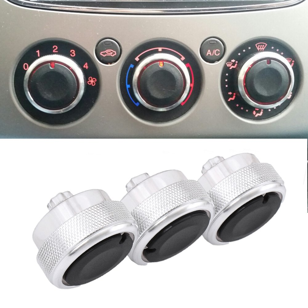 Boomboost Alliage daluminium Voiture Air Conditionnement Bouton de Commande de Commutation Bouton Auto Argent